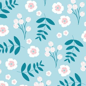Bohemian summer blossom botanical leaves and cherry flower branch indian summer blue pink