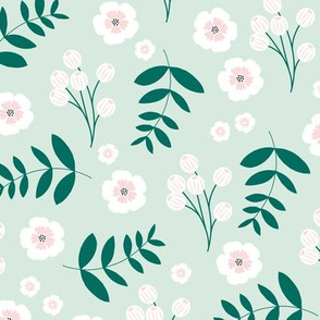 Bohemian summer blossom botanical leaves and cherry flower branch indian summer mint green pink