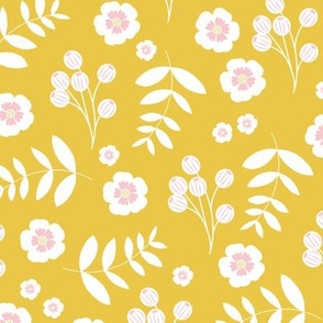 Bohemian summer blossom botanical leaves and cherry flower branch indian summer ochre yellow pink