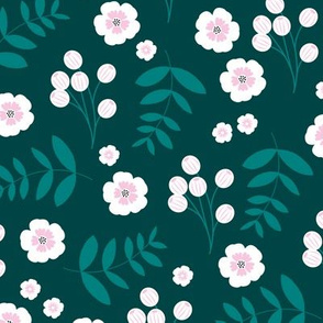 Bohemian summer blossom botanical leaves and cherry flower branch indian summer teal green pink