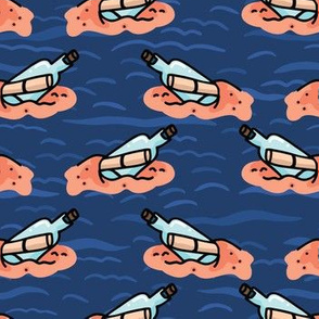 Cute message in a bottle seamless pattern