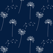 dandelions navy and white reversed