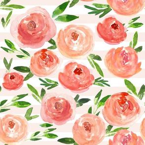 Coral Crush Summer Floral on Blush Stripes