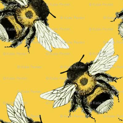 Bumble Bee Basics: Yellow wallpaper - katiepertiet - Spoonflower