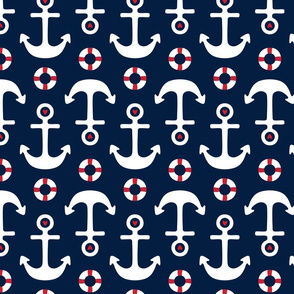 anchors lg on navy blue || independence day USA american fourth of july 4th