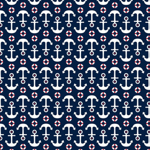 anchors med on navy blue || independence day USA american fourth of july 4th