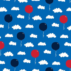 balloons med red white navy on royal blue || independence day USA american fourth of july 4th