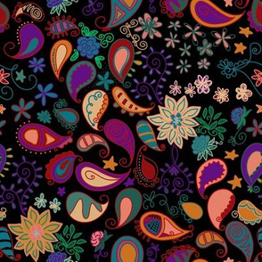 Project 1016 | Floral Paisley on Black