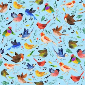 Happy Birdies On Blue