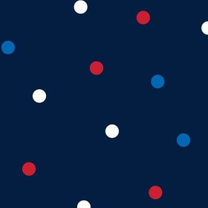 mixed polka dots lg red white and royal on navy blue || independence day USA american fourth of july 4th