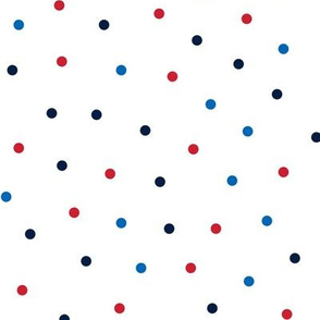 mixed polka dots med red white and blue || independence day USA american fourth of july 4th