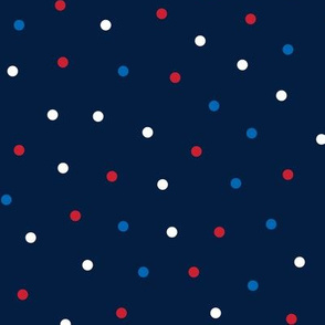 mixed polka dots med red white and royal on navy blue || independence day USA american fourth of july 4th