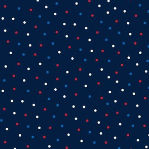 mixed polka dots sm red white and royal on navy blue || independence day USA american fourth of july 4th