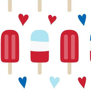 popsicles lg red and royal blue on white || independence day USA american fourth of july 4th