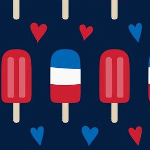 popsicles lg red white and royal on navy blue || independence day USA american fourth of july 4th