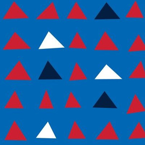 triangles red white navy on royal blue || independence day USA american fourth of july 4th