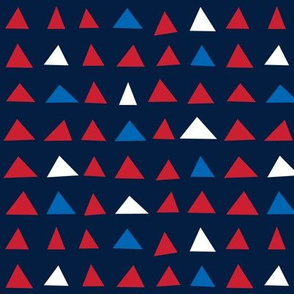 triangles sm red white and royal on navy blue || independence day USA american fourth of july 4th