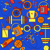 Funky, Fresh, Fitness and Sports, Blue, Orange, Red, Yellow,  and Retro Vintage Style Music Icons