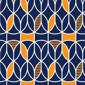 curved abstract navy-yellow
