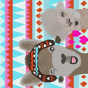 Llama in love teatowel