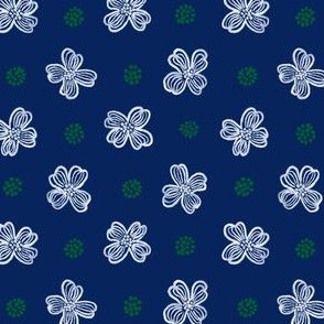Scandi Dogwood toss (navy) 4""
