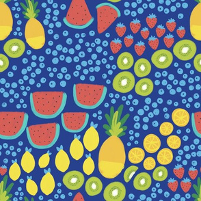 Fruit Party on Grecian Blue - Pineapple, Watermelon, Kiwi, Lemons, Oranges, Strawberries, Blueberries