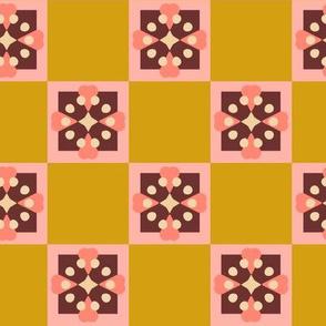 Scandinavian Flower Coordinate Checkered Mustard