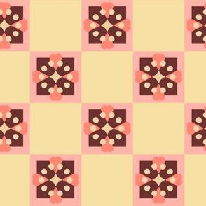 Scandinavian Flower Coordinate Checkered Cream
