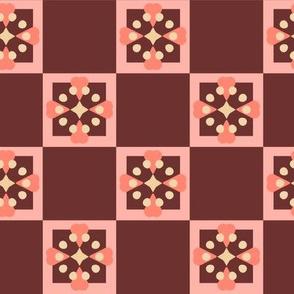 Scandinavian Flower Coordinate Checkered Dark Red