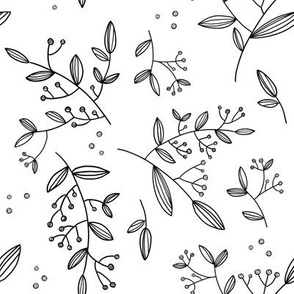 Floral Sprigs BW