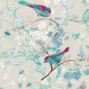 Birds + the Bees (aqua) LARGE