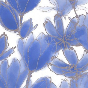 Chinese Blue Florals White