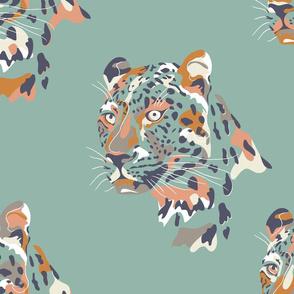 africa africa - leopard head - aqua