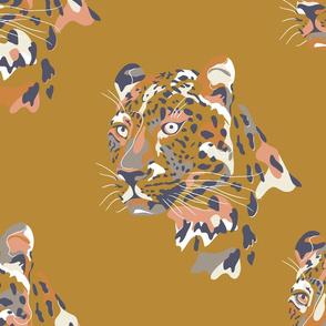 africa africa - leopard head - gold