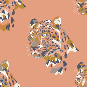 africa africa - leopard head - peach