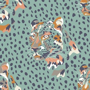 africa africa - leopard head and spots - aqua blue