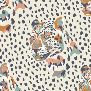 africa africa - leopard head and spots - cream