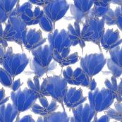 Cobalt Blue Floral White
