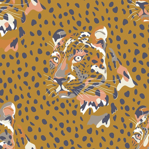 africa africa - leopard head and spots - gold blue