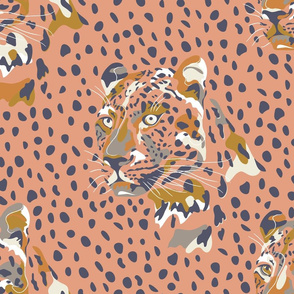 africa africa - leopard head and spots - peach