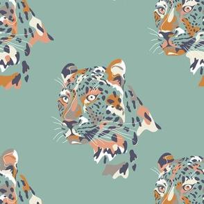 africa africa - leopard head - aqua  - small