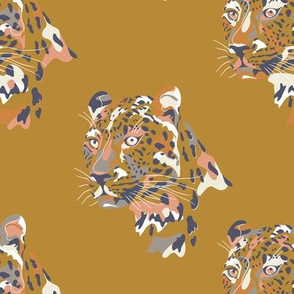 africa africa - leopard head - gold  - small