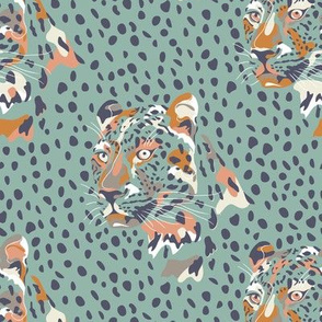 africa africa - leopard head and spots - aqua blue - small