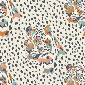 africa africa - leopard head and spots - cream - small