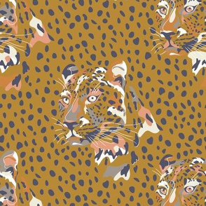 africa africa - leopard head and spots - gold blue - small