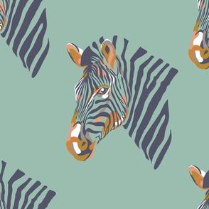 africa africa - zebra head - aqua