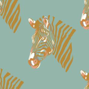 africa africa - zebra head - aqua gold