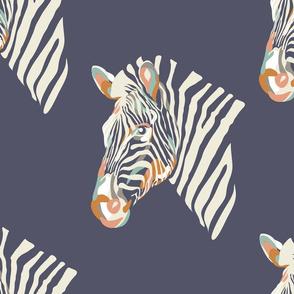 africa africa - zebra head - blue