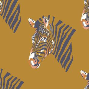 africa africa - zebra head - gold