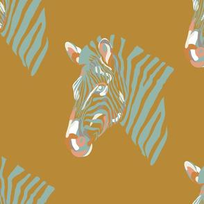 africa africa - zebra head - gold aqua